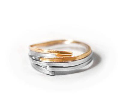 gold and silver fold rings