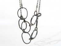 Oxidised Silver, Pebble And Knot Necklace