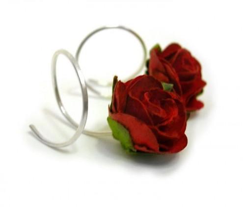 red rosebud curl earrings