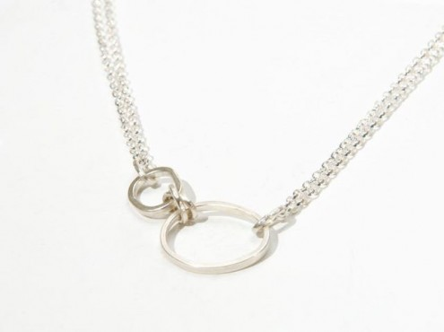 silver pepple and knot necklace 2