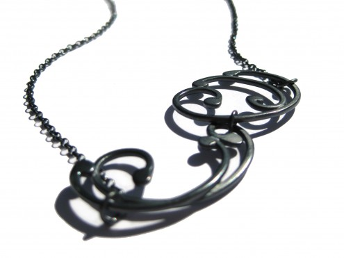oxidised silver baroque necklace