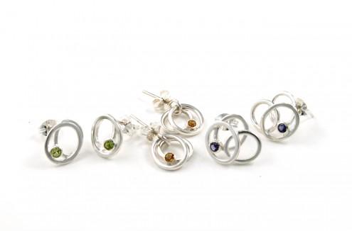 Pebble Cluster Earrings (Peridot, Citrine, Iolite)
